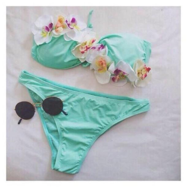 swimwear flowers bikini sexy pretty blue pink beach