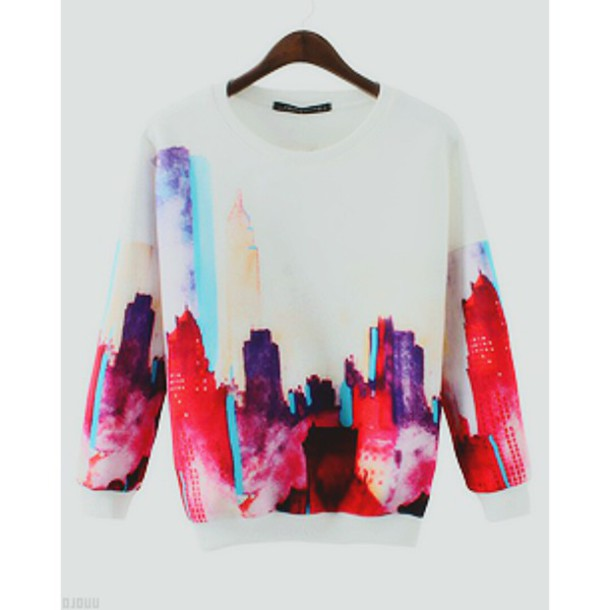 sweater pullover top color/pattern printed sweater