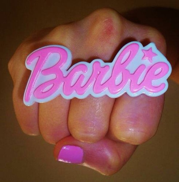 jewels barbie two finger ring pink barbie ring