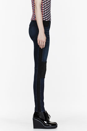 Marc By Marc Jacobs Black & Blue Colorblocked Cigarette Slim Jeans for women | SSENSE