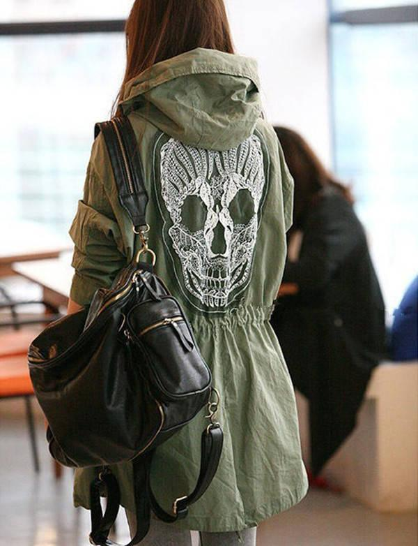 New Lady Womens Retro Military  Button Skull Back Hooded Jacket Coat-in Basic Jackets from Apparel & Accessories on Aliexpress.com