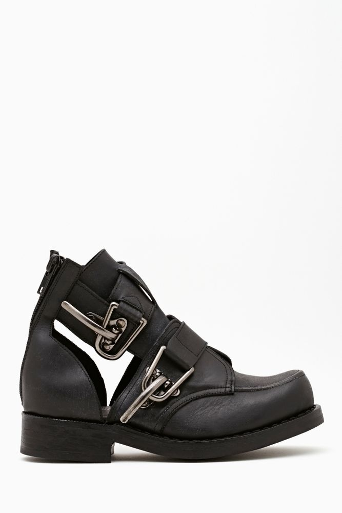 Jeffrey Campbell Roscoe Cutout Ankle Boot in Black Silver Buckle Coltrane Lita | eBay