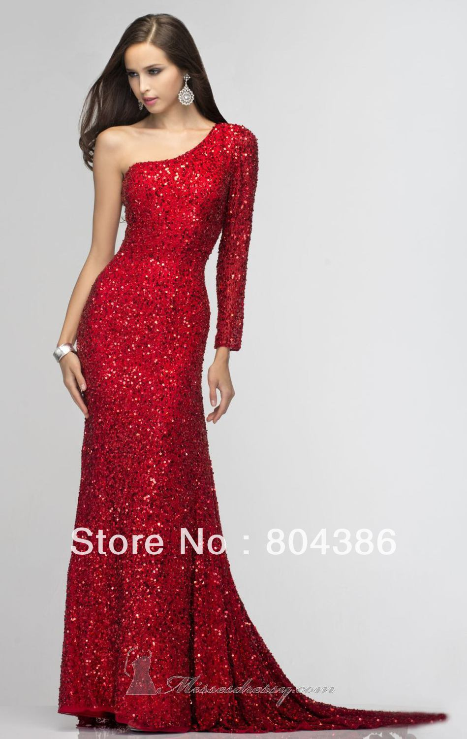 Gold silver red sequins beaded one shoulder long sleeve sexy sequins prom dress one sleeve evening dress-in Evening Dresses from Apparel & Accessories on Aliexpress.com