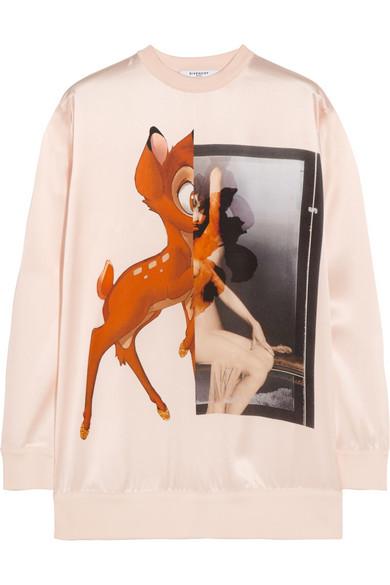 Givenchy Bambi silk-satin sweatshirt NET-A-PORTER.COM