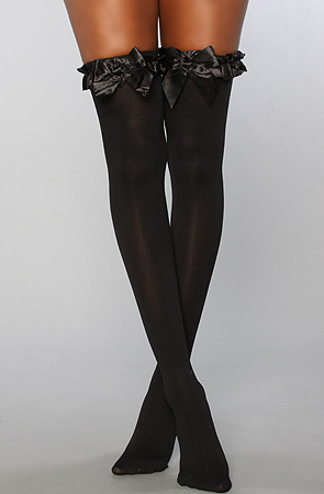 Foot Traffic Sexy Black Thigh High Socks With Bows- Over the knee socks for women