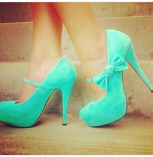 shoes blue shoes bow shoes