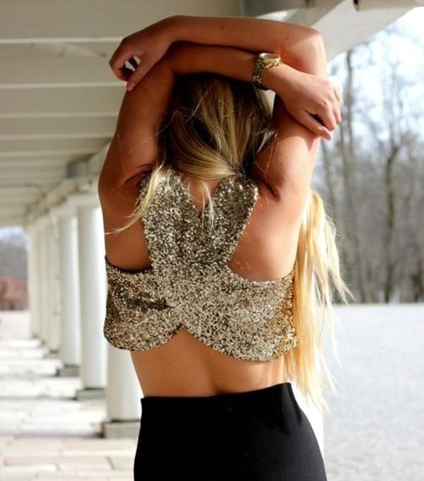 blouse sequins crop tops open back shirt gold