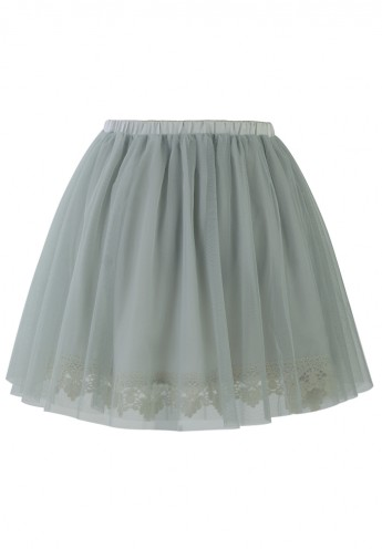 Fairy Tulle Skirt with Lace Trimming in Smoke - Retro, Indie and Unique Fashion