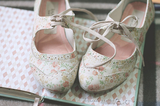 shoes floral cute flats brogue shoes vintage