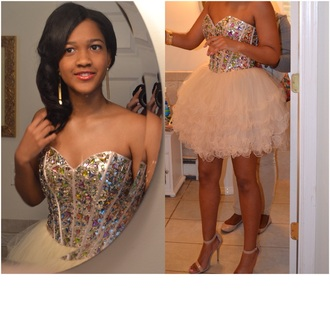 dress short prom dress studded dress 2015 short prom dress champagne prom dress