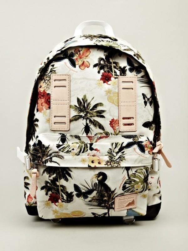 bag flower bag summer bag tropical hawaiian birds palm tree print tropical backbag flowers backpack vintage