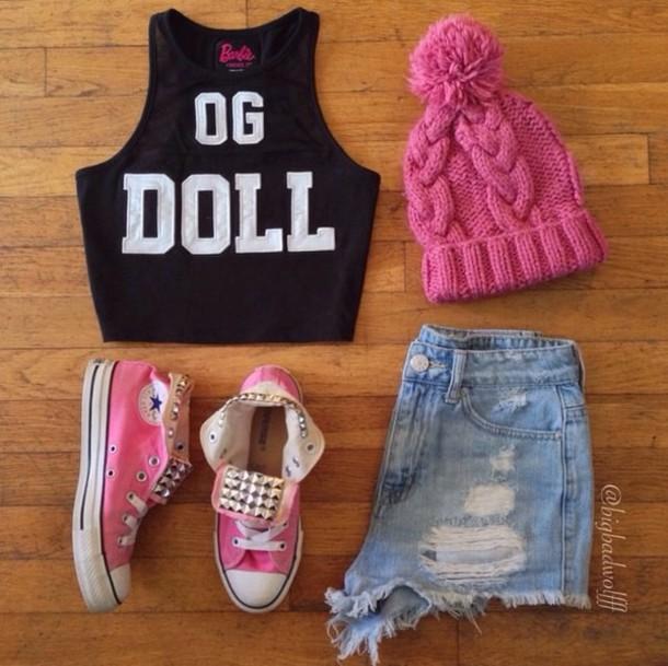 top og doll black crop top sleevless barbie tag