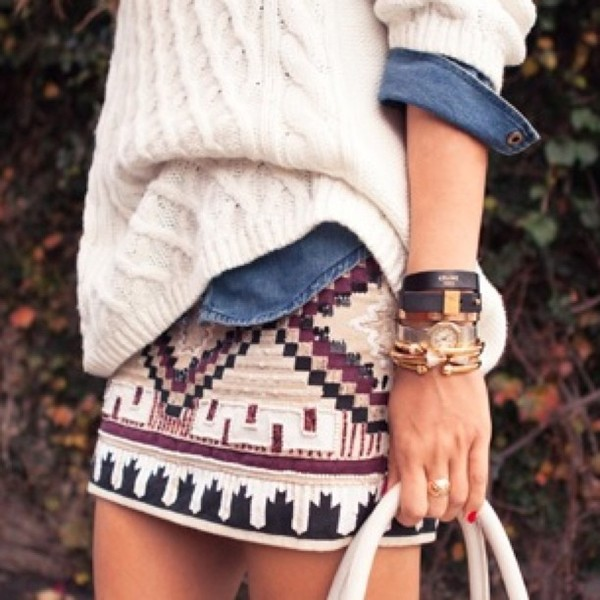 skirt mini dress aztec aztec skirt sweater