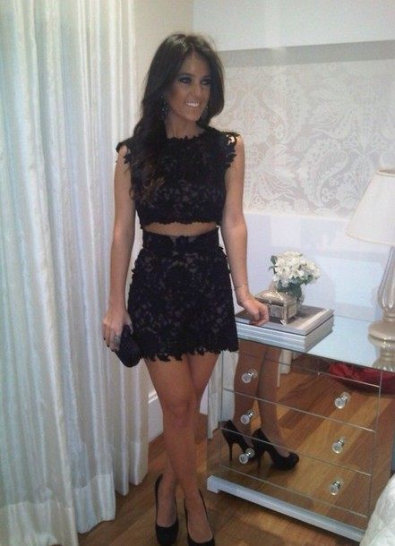 skirt two-piece crop tops shorts lace top black skirt black top night out dress