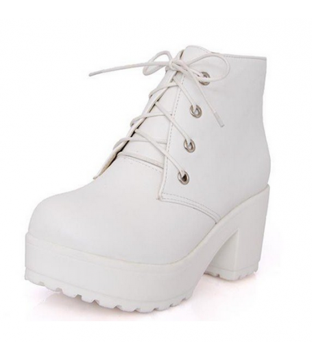 White Leather Platform Lace-Up Heel Boots