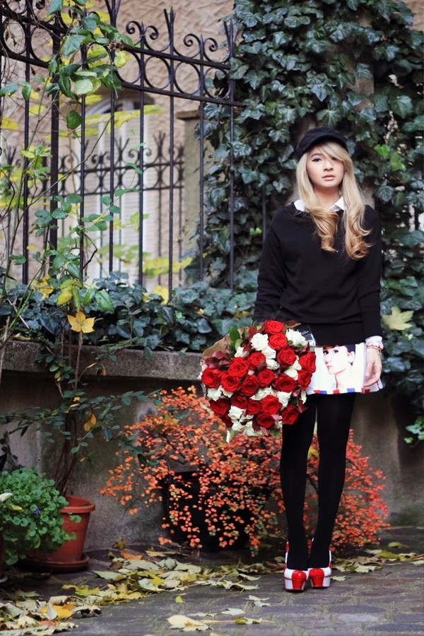 brown platform jewels sweater skirt hat shoes