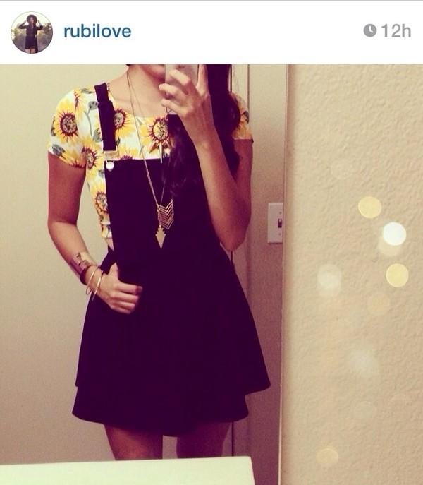 dress overalls sunflower indie black skirt