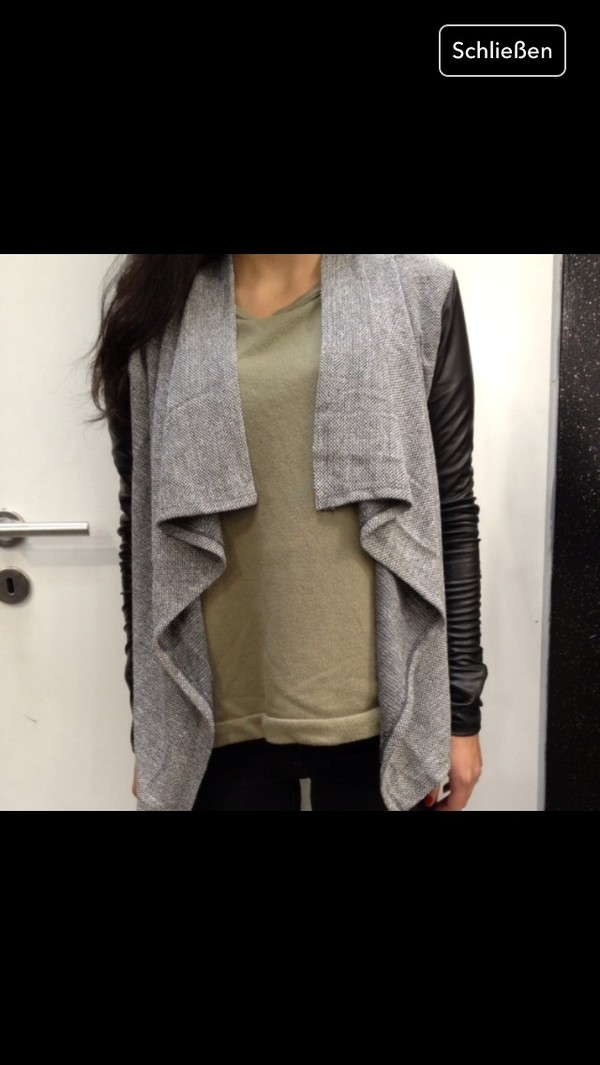 sweater grey sweater grey black cardigan knitted cardigan oversized cardigan leather jacket leather clothes clothes