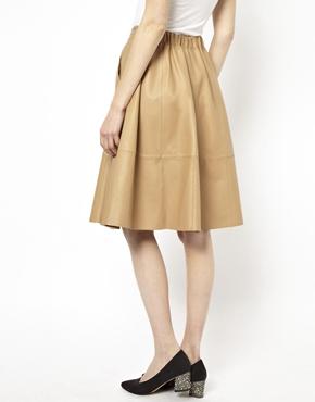 ASOS | ASOS Full Skirt in Leather at ASOS