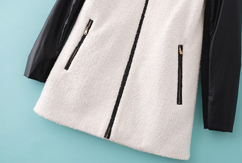 White Contrast PU Leather Wool Trench Coat - Sheinside.com
