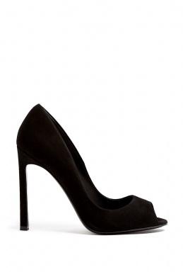 Kurt Geiger London | Christie Black Suede Peep Toe Court Shoe by Kurt Geiger London