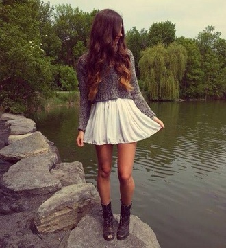 skirt shirt white sweater shoes grey indie hipster soft grunge hippie spring vintage dress white skirt brown booties boots comfysweater comfy sweater brown sweater cropped sweater knit top crop tops fall outfits girly girly outfits tumblr fashion style flowy iphone case girl iphone phone cover aztec cowboy boots macys skater skirt cream belt cute combatboots t-shirt skater dress grey sweater