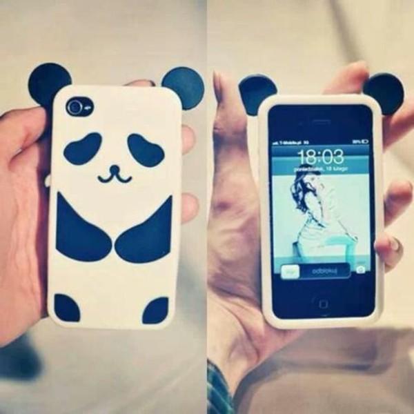 jewels white iphone panda phone cover black cute