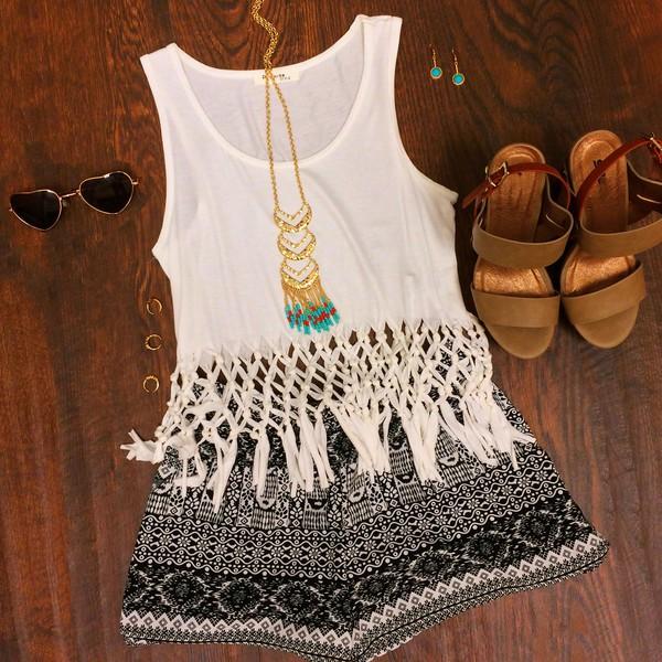 top aztec shorts fringe crop top crop tops shorts wedges shoes