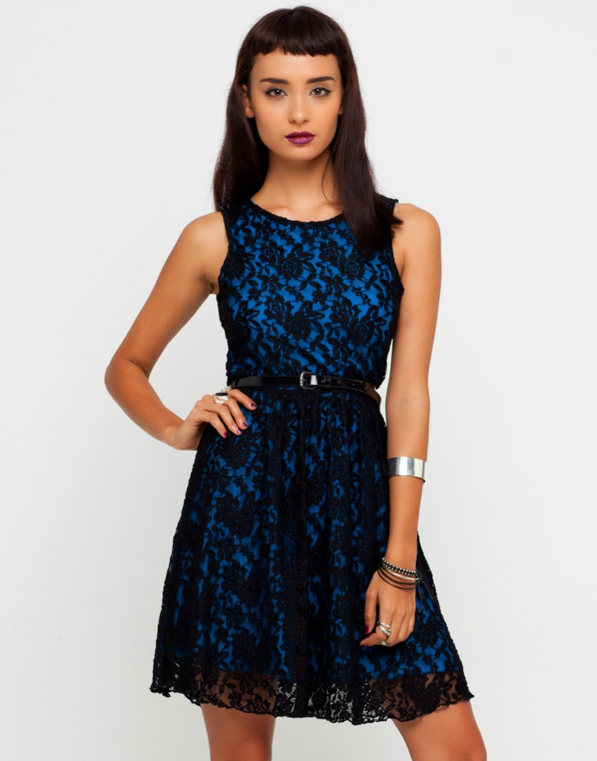 Buy Motel Clara Lace Dress in Turquoise and Black Lace at Motel Rocks