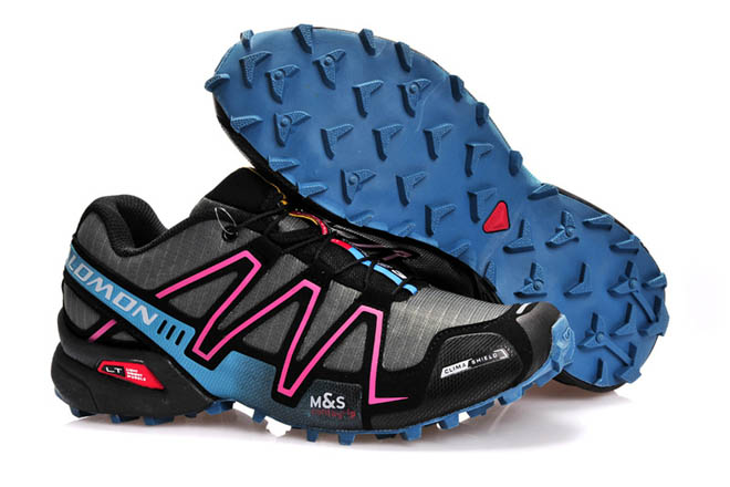 Salomon Mens Speedcross 3 Trainers grey moon blue pink black