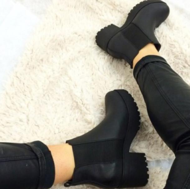 shoes black platforms booties chelsea boots
