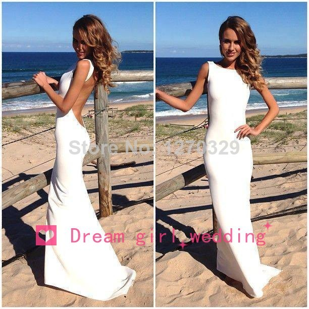 Aliexpress.com : Buy Elegant Women Open Back  White Floor Length Maxi Mermaid Party Dresses Evening Dresses 2014 New Arrival Vestidos De Fiesta  from Reliable dresses dropship suppliers on Dream Girl Wedding