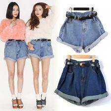Cool Women High Waisted Oversize Crimping Washed Denim Jeans Shorts Girl Pants J   eBay