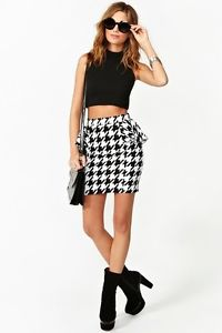 Nasty Gal Inspired Houndstooth Peplum Skirt Pencil Skirt Medium | eBay