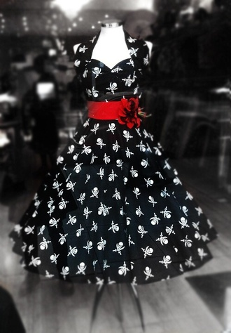 dress black and white halter dress skull and cross bones print red 50s style pirate