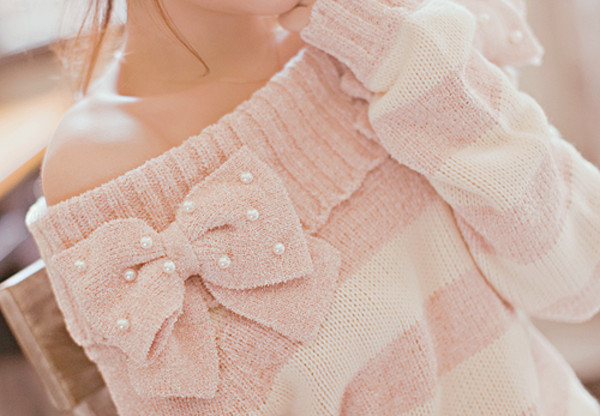 sweater cute sweatshirt pink bow stripes blouse shirt clothes women's clothes pink sweater girly light pink pearl bows white stripes stud pearl cream off the shoulder knit pastel sweater