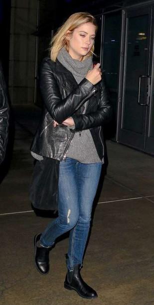 ashley benson leather jacket shoes sweater