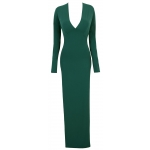 Clothing : Maxi Dresses : 'Riley' Evergreen Deep V Double Thigh Split Maxi Dress