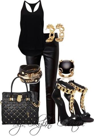 shoes black shooes bag accessories racerback leather pants