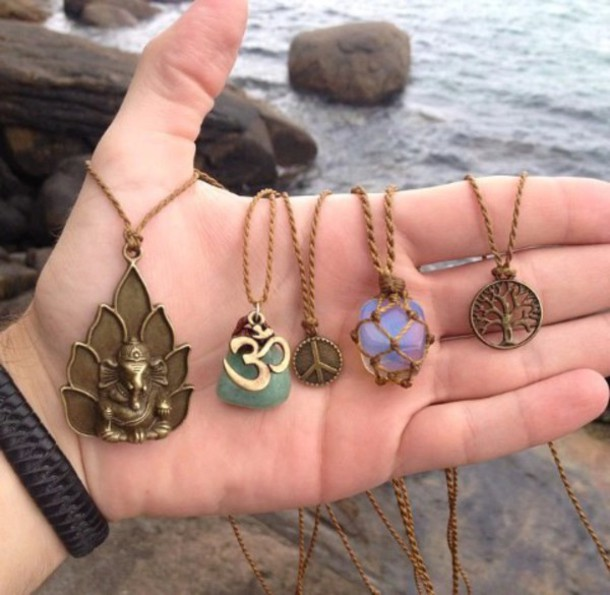 jewels bohemian hippie necklace indian boho om sign