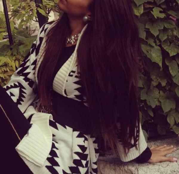 sweater aztec white black