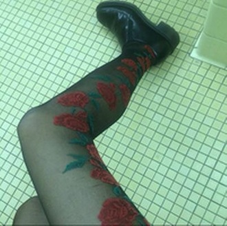 tights indie pantyhose rose roses flowers black grunge emo stockings red tight black tights noir collant punk