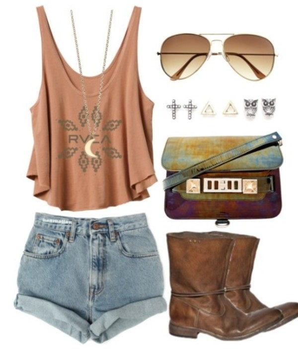 t-shirt sunglasses shorts booties earrings bag shoes necklace indie shirt