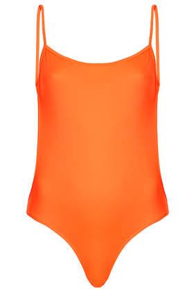 **Fluro Orange Backless Swimsuit by ASHISH X Topshop - Topshop USA