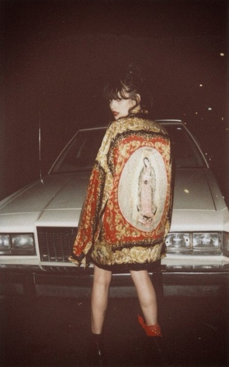 jacket vintage grunge blouse dope mia miley cyrus graphic tee shirt button up vogue hipster tumblr coat girl soft grunge tumblr girl kimono religious gold frame cardigan virgin mary jesus religion pray pray hands custom made gold frame home decor red black jumper etsy holy mary painting saint retro cool bohemian colorful long