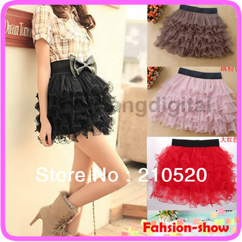 Lowest 2013 New Mini Skirt Lady Tulle Tutu Cake Skirt  Gauze Tier Layered Skirt Sale 5 color-in Skirts from Apparel & Accessories on Aliexpress.com