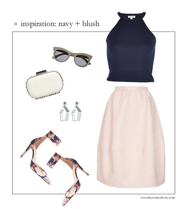 her waise voice t-shirt skirt sunglasses jewels shoes