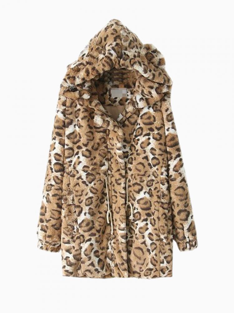 Faux Fur Hooded Coat In Leopard Print   Choies