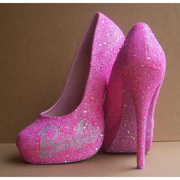 Pink Barbie Glittered High Heels - Polyvore