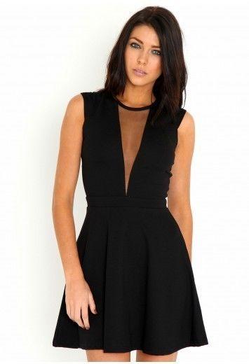Missguided Skater Dress With Mesh Plunge Neckline , In Black, size 8 BNWT | eBay